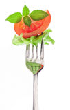 Slice of tomato and basil on the fork. Isolated on white royalty free stock photos