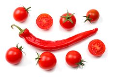 Slice of tomato with chili pepper isolated on white background. top view Stock Images