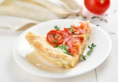 Slice of tomato pie Royalty Free Stock Images