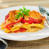 A Slice of Tomato, Red Capsicum, Zucchini and Feta Gratin Royalty Free Stock Images