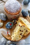 Easter cake and eggs on a wooden stand. Royalty Free Stock Photo