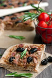 Slice of tuna tart with olives and onions Royalty Free Stock Photo