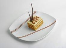Slice of vanilla cake Stock Photography
