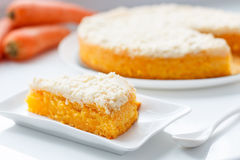 Slice of vegan carrot cake with crispy crumb Royalty Free Stock Image