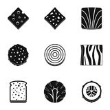 Slice of vegetables icon set, simple style Royalty Free Stock Image