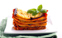 Slice of vegetarian lasagna. Served on plate Royalty Free Stock Images