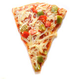 Slice of Vegetarian Pizza. A slice of vegetarian pizza isolated on a white background Royalty Free Stock Photography