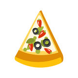 Slice Of Vegetarian Pizza Primitive Cartoon Icon, Part Of Pizza Cafe Series Of Clipart Illustrations Stock Photo