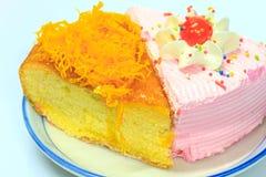 Slice of Victoria sponge cake Stock Photography
