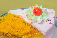 Slice of Victoria sponge cake Stock Photos