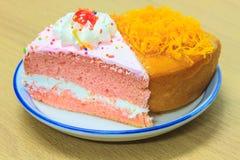 Slice of Victoria sponge cake Royalty Free Stock Photo