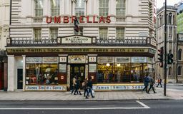 Slice of Victorian London is thriving on Oxford Street, London with James Smith and Sons Umbrella Shop. London, UK - Mar 6, 2018: Slice of Victorian London is Royalty Free Stock Photo