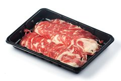 Slice of Wagyu beef. For Shabu in black box Stock Image