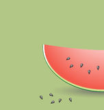 Slice of Watermelon. Illustration of slice of watermelon with seeds, green background with copy space royalty free illustration