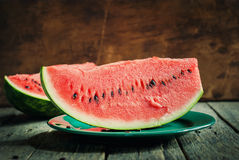 A Slice of Water-melon on a plate Stock Photos