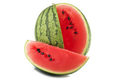 Slice watermelon. On the white stock photo