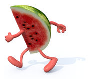 Slice of watermelon with arms and legs running Stock Photography