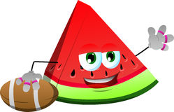 A slice of watermelon as American football player Royalty Free Stock Photography