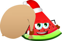 A slice of watermelon as Santa Claus with a big sack Stock Image