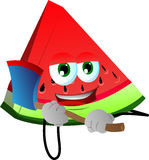 A slice of watermelon with an axe Royalty Free Stock Image
