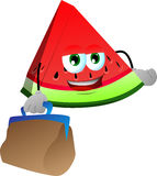 A slice of watermelon with bag Stock Photo