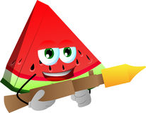 A slice of watermelon with bazooka Royalty Free Stock Photo