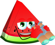 A slice of watermelon with binoculars Royalty Free Stock Image
