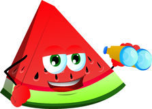 A slice of watermelon with binoculars Royalty Free Stock Photo
