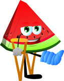 A slice of watermelon with a broken leg walking on crutches Royalty Free Stock Image