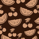 Slice of watermelon and cherry in beige tones, vintage seamless pattern, fruit cartoon background, hand-drawing. For the. Design of the fabric, print, wallpaper Royalty Free Stock Photos