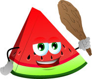 A slice of watermelon with a club Royalty Free Stock Photography