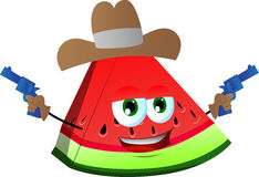 A slice of watermelon cowboy with gun Royalty Free Stock Photo