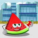 A slice of watermelon eating apple in the city Royalty Free Stock Photos
