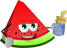 A slice of watermelon with feeding bottle Stock Photo