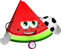 A slice of watermelon with football or soccer ball Royalty Free Stock Photography