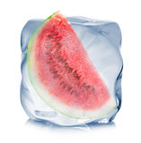 Slice of watermelon frozen in the ice cube close-up  on white background Royalty Free Stock Photos