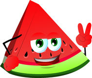 A slice of watermelon gesturing the peace sign Royalty Free Stock Photos