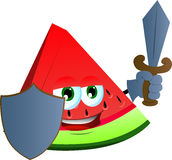 A slice of watermelon guard with shield and sword Royalty Free Stock Photos