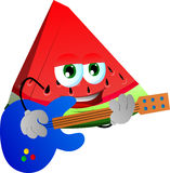 A slice of watermelon guitar player Stock Image