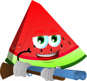 A slice of watermelon with a gun Royalty Free Stock Photography