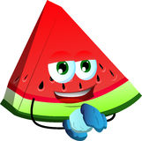 A slice of watermelon having winter fun Royalty Free Stock Photography