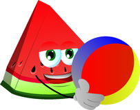 A slice of watermelon holding a beach ball Royalty Free Stock Photos