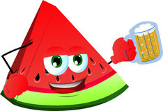 A slice of watermelon holding beer Royalty Free Stock Images