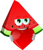 A slice of watermelon holding a big red heart Royalty Free Stock Photos