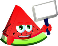 A slice of watermelon holding blank board Stock Image