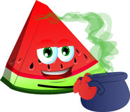 A slice of watermelon holding cauldron with potion Stock Photography