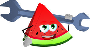 A slice of watermelon holding a huge wrench Stock Images
