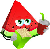 A slice of watermelon holding popcorn and soft drink Royalty Free Stock Photo