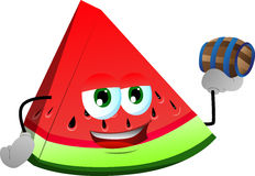 A slice of watermelon holding a small barrel Royalty Free Stock Photography