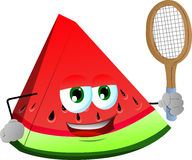 A slice of watermelon holding a tennis rocket Royalty Free Stock Photo